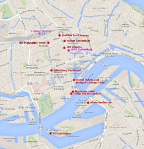 Map hotels in Rotterdam